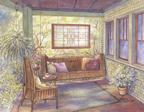 Arts and Crafts front porch watercolor by Leisa Collins