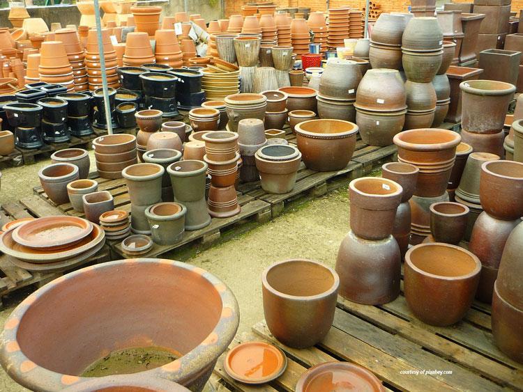 assortment of clay pots