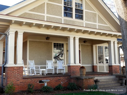 double columns on open front porch