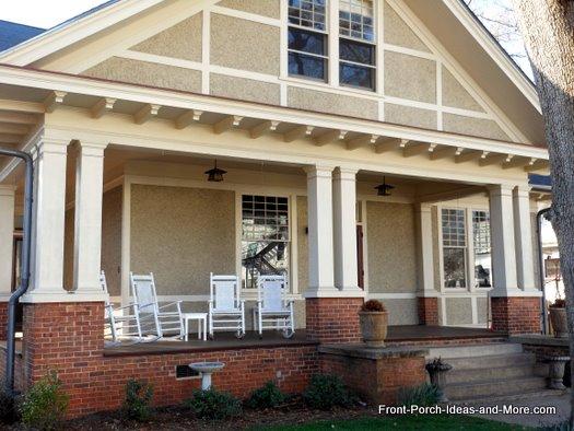 double columns on open front porch