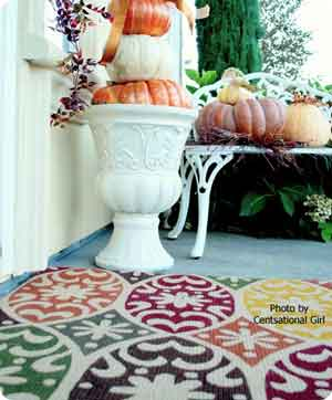 colorful rug with pumpkins