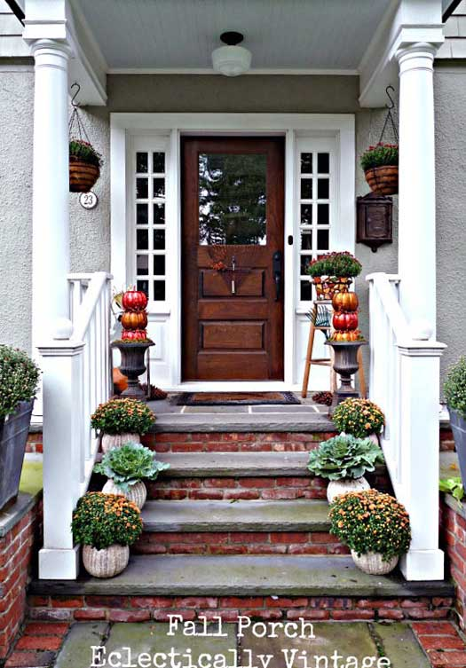 Sophisticatedly Decorated Front Porch For Fall