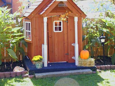 autumn decorated outdoor shed