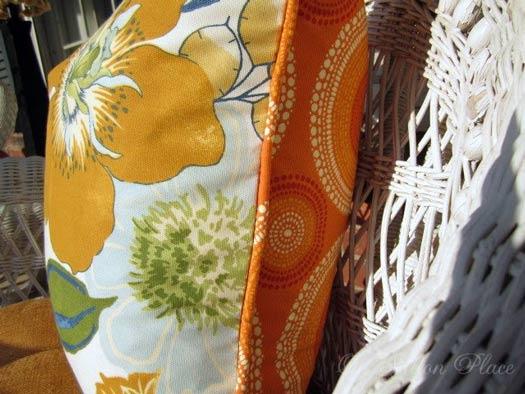 orange piping on pillow