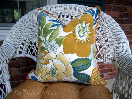 beautiful floral fall design on pillow covering
