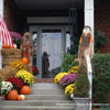 front porch steps decorated for autumn