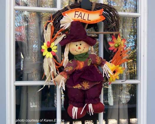 Whimsical scarecrow Autumn Wreath