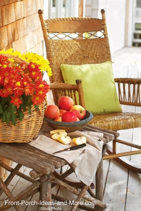 autumn porch, rocking chair and apples