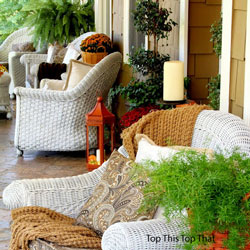 wicker furniture decked out for fall