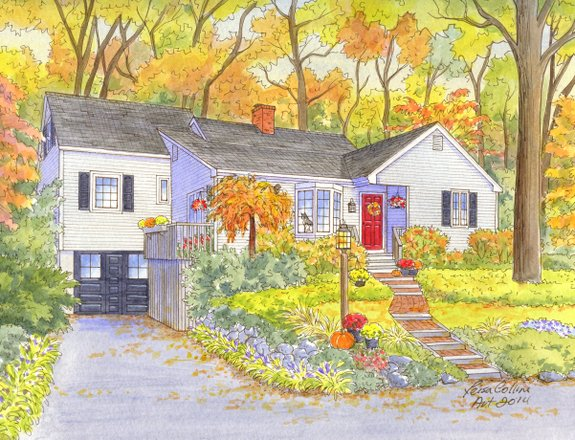 house portrait painting - four seasons - autumn - watercolor by Leisa Collins