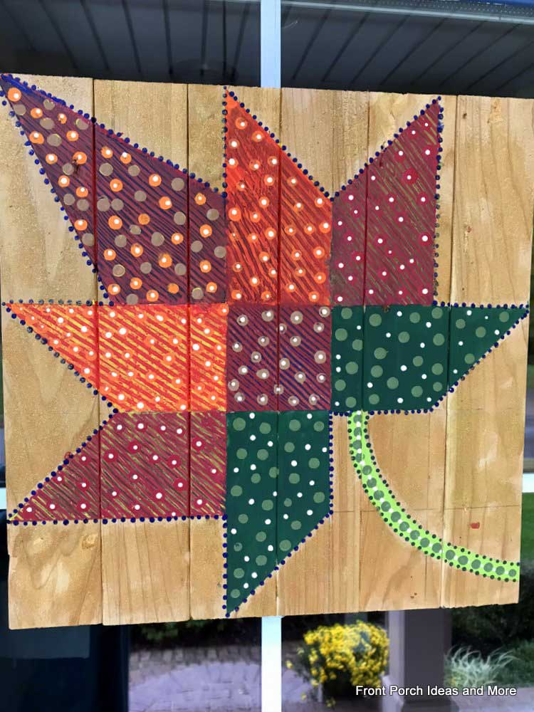 quiltwork-style maple leaf painting for our front door