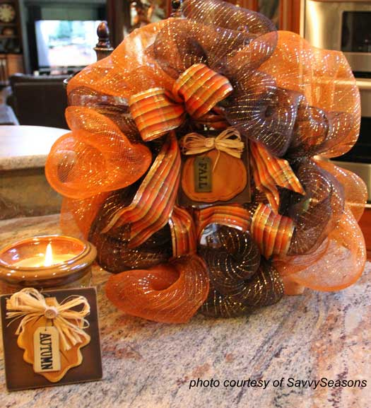 fall front porch ribbon wreath