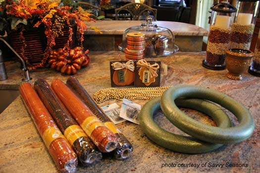 autumn craft supplies for making the ribbon wreath