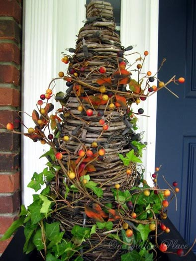 grapevine tree decorted for fall