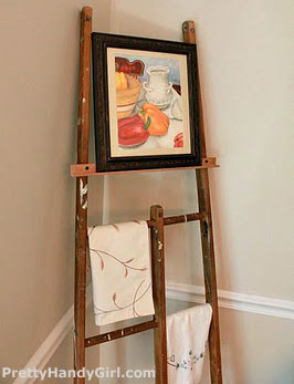 Back of ladder turned into an easel