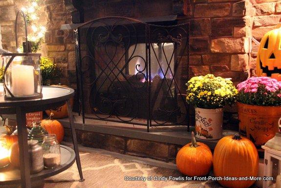 Cindy's back porch has a wonderful fireplace