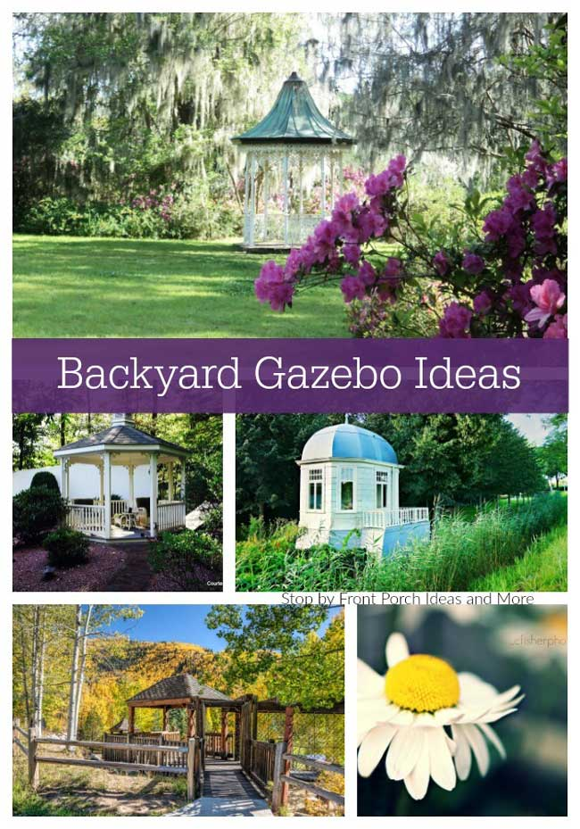 a collage of backyard gazebo ideas