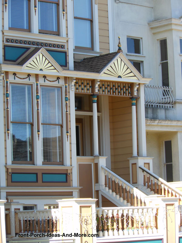 ball and spindel spandrel on porch in San Francisco
