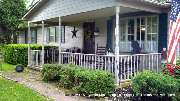 Maryanne's porch has a decorative star next to the front door