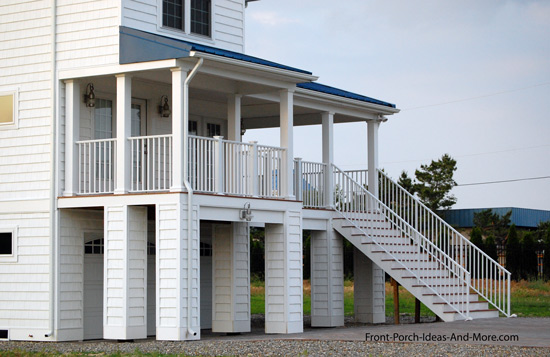 Beach home with elevated front porch