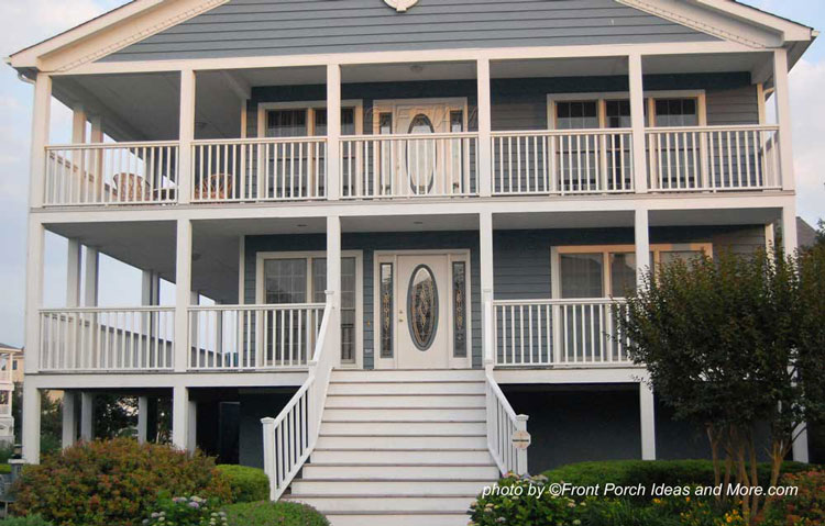 two - two story front porches on beach home