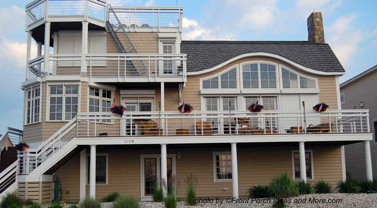 large beach home and porch with minimal porch railngs