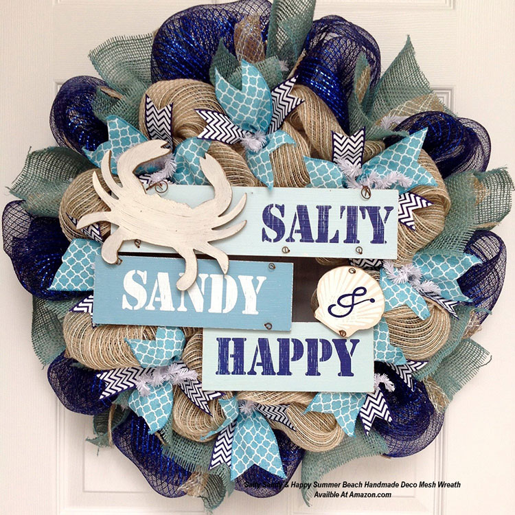 Salty Sandy & Happy Summer Beach Handmade Deco Mesh Wreath  from Amazon.com