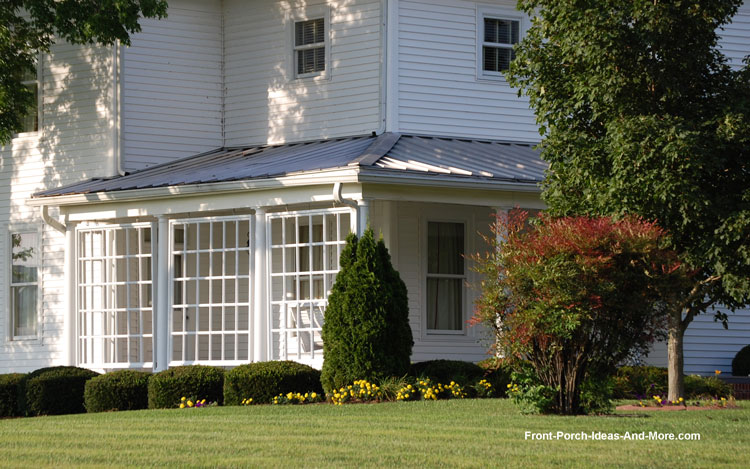 iconic American farmhouse front porch