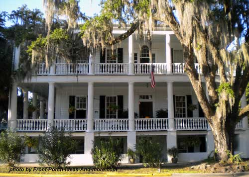 very large southern front porches on plantation home