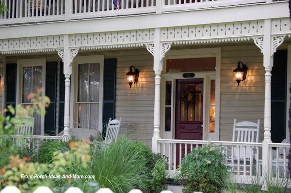 ornate railing fretwork on lovely front porch