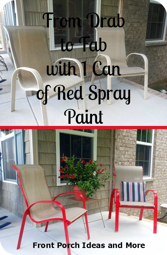 before and after painting porch chairs bright red!