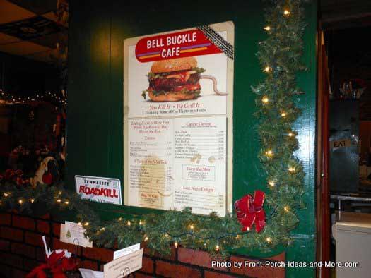 Bell Buckle Cafe menu