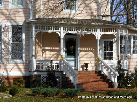 Arrowlet Bed and Breakfast front porch with unique porch railings
