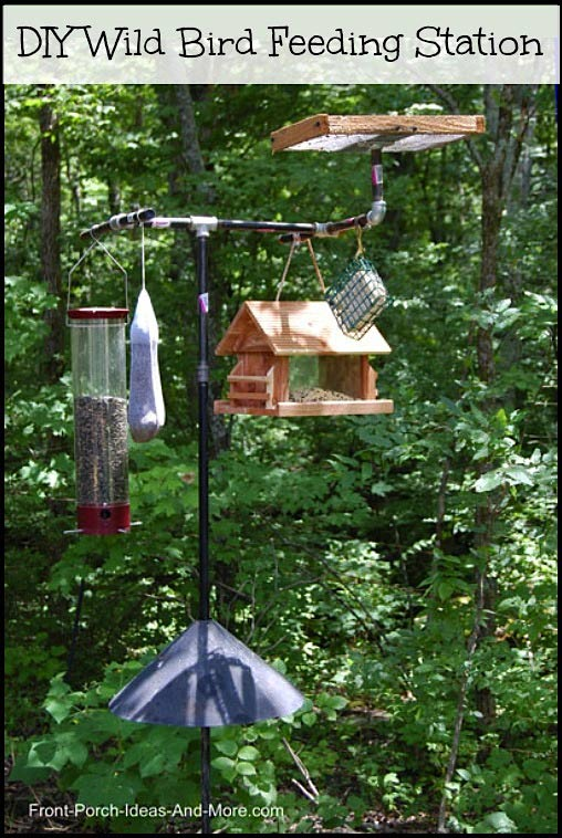 wild bird feeding station showing pipe components and feeders