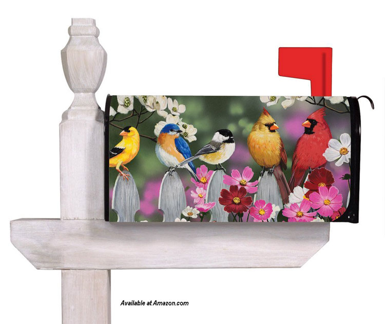birds sitting on fence on mailbox cover from amazon.com