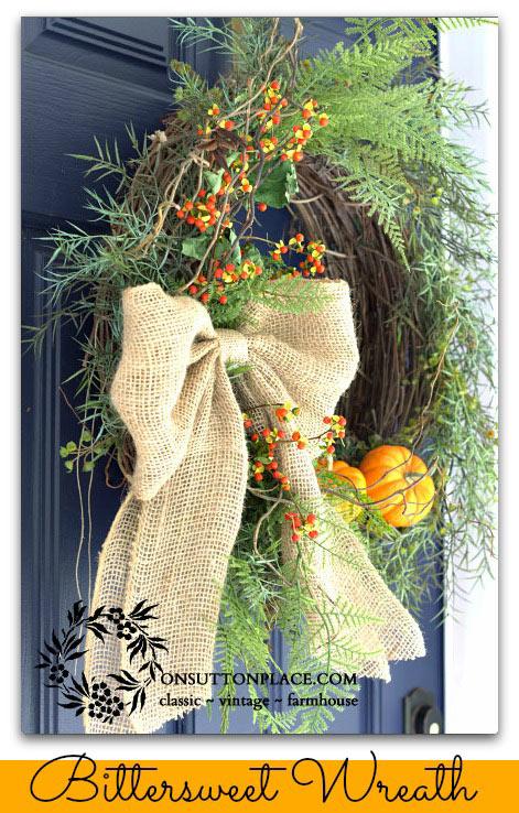 Ann's bittersweet burlap wreath for fall