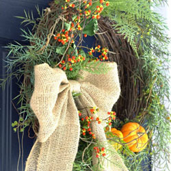 Ann's burlap and bittersweet wreath for autumn