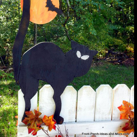black cut cutout on picket fence for halloween