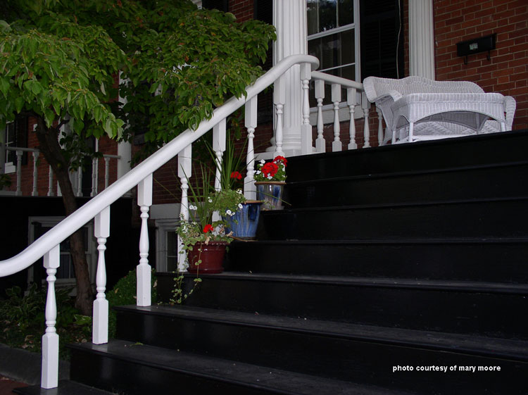 black painted porch steps