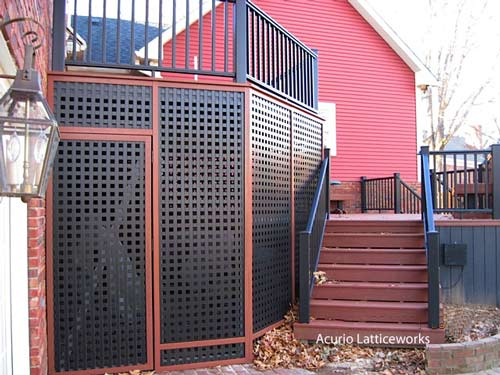 black vinyl lattice panels square pattern