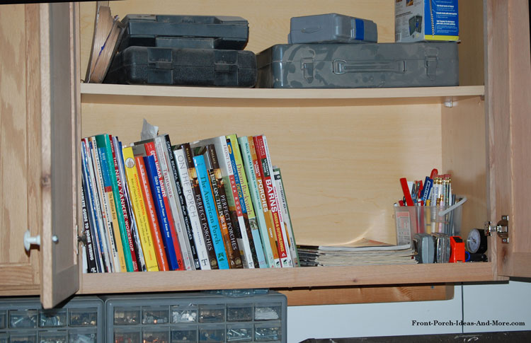 woodworkers cabinet with books