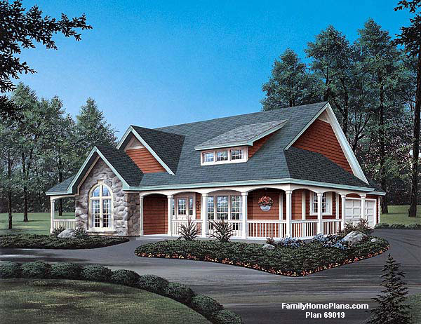 Downsized home plan from Family Home Plans #69019