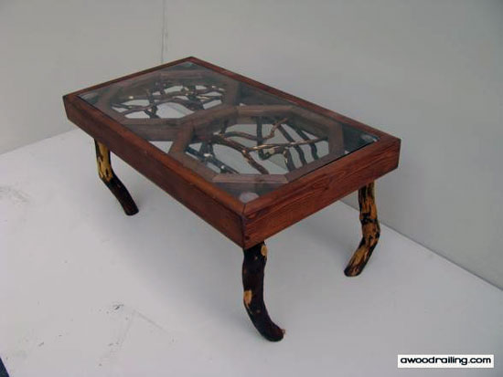 branch style coffee table made from mountain laurel wood