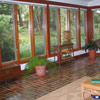 brick flooring in sunroom