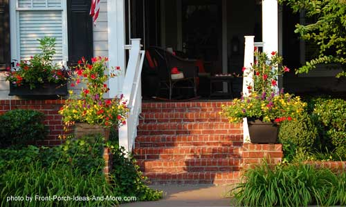 Front porch steps made out of brick