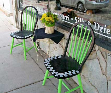 Brigham City Utah porch chairs at storefronts