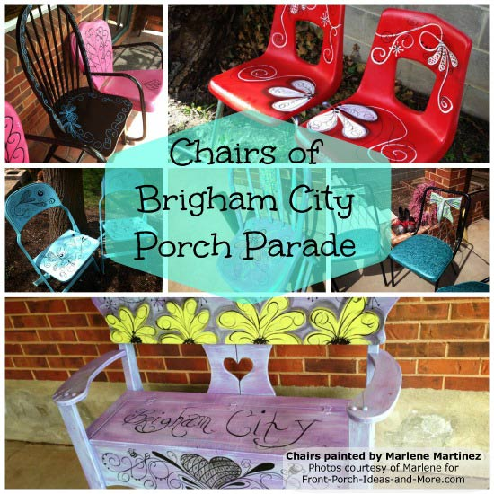 chairs painted by Marlene for the Porch Parade