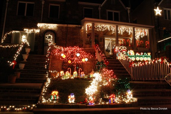 Beautifully lit porches in Dyker Heights - Brooklyn