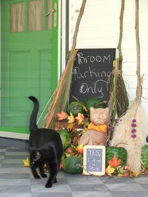 broom parking porchscape for Halloween