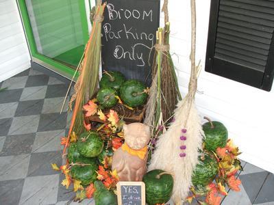 broom parking porchscape for Halloween